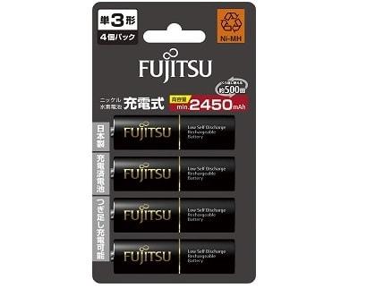 4 black AA fujitsu rechargeable batteries