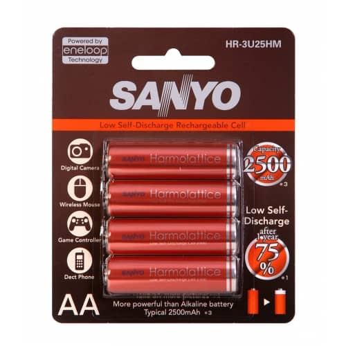 4 pieces of Sanyo Harmolattice batteries in a package