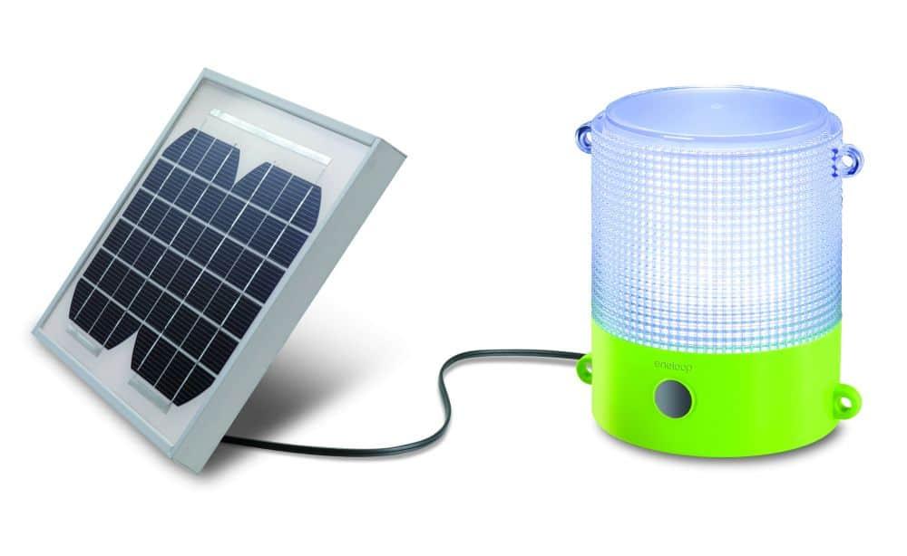 green lantern with solar panel