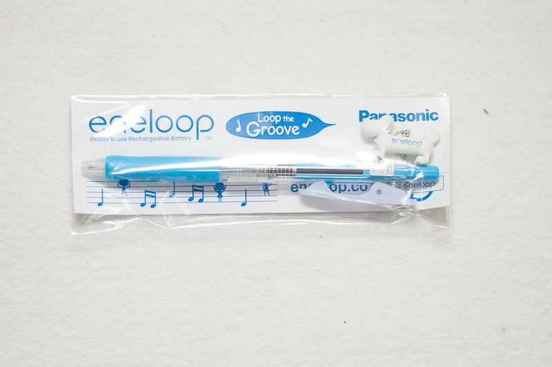 white and blue pen with eneloopy dog
