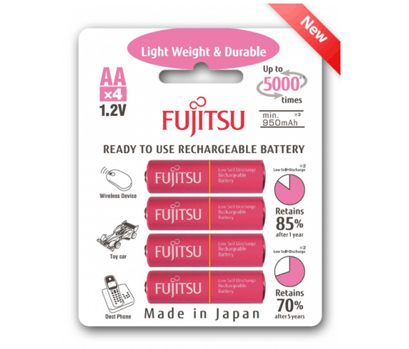 4 pink fujitsu rechargeable batteries